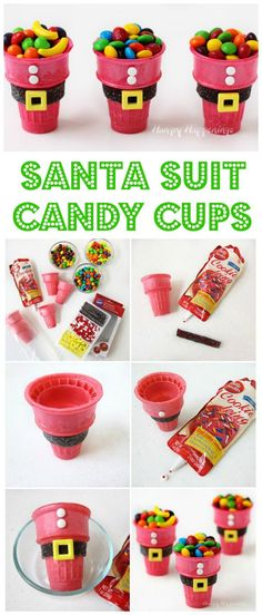 These Santa Suit Candy Cups are super easy to make using red ice cream cones and candy decorations. See the tutorial at http://HungryHappenings.com.