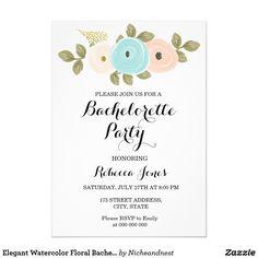 Elegant Watercolor Floral Bachelorette Invitation
