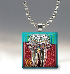 50% Off-Tooth Teeth Necklace Dental Dentist Dentistry Folk Art Jewelry - Pendant Glass Gift Art Heather Galler Gift - Medical Anatomy Scien