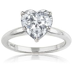 Heart Tiffany Style CZ Solitaire Engagement Ring