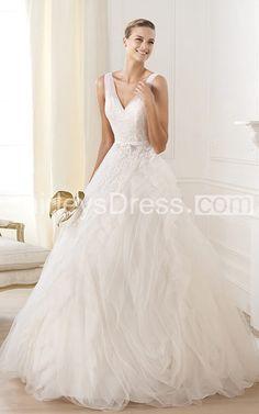 Glamorous V-neck A-line Wedding Dress $300.99 Ball Gown Wedding Dresses