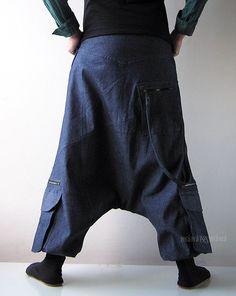 Denim Harem Pants Aladdin Trousers Afghani Pants by manaKAmana  Farmernadrág df6be79d96