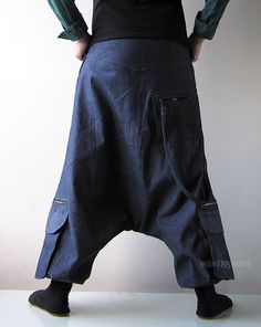 Denim Harem Pants Aladdin Trousers Afghani Pants by manaKAmana