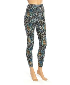 Look what I found on #zulily! Blue & Gold Paisley Leggings #zulilyfinds
