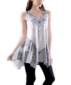 This Black & Purple Sublimation Sleeveless Handkerchief Tunic by Simply Couture is perfect! #zulilyfinds
