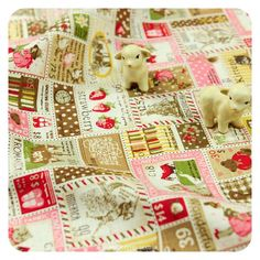 BESTSELLER | Life in Japan ♥ 50x50cm Red Stamps Super Cute Retro Linen Fabric Fat Quarter