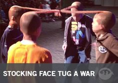 Stocking Face Tug A War | Fun Ninja Youth Group Games