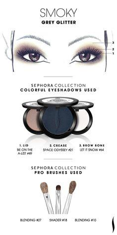 SMOKY: Grey Glitter HOW TO #sephoracollection #sephora #eyeshadow #makeup