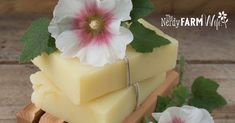 5 Things to Make with Hollyhocks (The Nerdy Farm Wife) Dandelion Recipes, Hollyhocks Flowers, Wooden Soap Dish, Soap Making Kits, Bar Gifts, Bath Melts, Homemade Soap Recipes, Lavender Soap, Lotion Bars