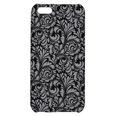 Elegant Black and Silver Damask Floral Pattern iPhone 5C Case