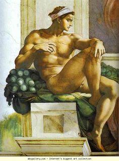 Michelangelo. Ignudi. 1508-1512. Fresco. Sistine Chapel, Vatican.
