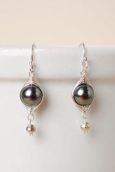 Unique Handcrafted Pearl Herringbone Dangle Earrings - Journ014E