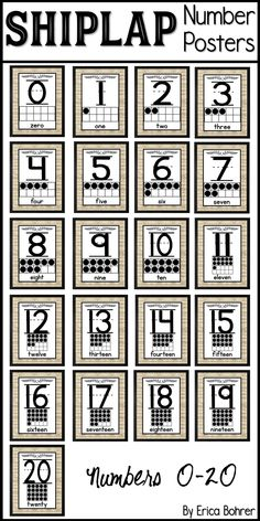 Shiplap style number posters with ten frame.  Numbers 0 to 20 farmhouse/shiplap style posters