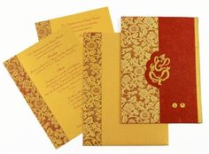 HINDU WEDDING #CARD......  Check it out this latest arrival wedding card for hindu marriages and also for special occasions invitation,Maroon colored silk handmade paper, card, golden colored paper for 2 inserts and envelope.  BUY @ http://www.indianweddingcard.com/D-423.html