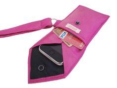 FABULOUSLY FUCHSIA Recycled Men's Silk Necktie 2-Pocket Gadget Holder Wristlet - (iPhone 3g/3gs/4 Blackberry Droid Palm HTC Samsung Sidekick iTouch iPod Zune MP3 Camera Case)