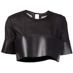 PHOEBE ENGLISH rubber hem crop top ($645) ❤ liked on Polyvore featuring tops, crop tops, shirts, t-shirts, keyhole crop top, sheer top, snap shirt, crop top and crew neck shirt