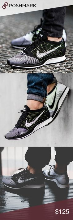 Nike Flyknit Racer. NWOB. Black White Volt. 5 Nike Flyknit Racer. Brand NEW, without box. Black White & Volt colorway.  Mens size 5/ Women's size 6.5. Will sell for less on ️ay️al or ✔️. Nike Shoes Sneakers