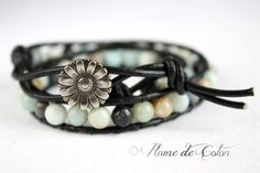 Rainbow amazonite leather wrap Bracelet