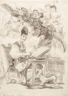 'Don Quijote acosado por monstruos'. Francisco de Goya. Dibujo a pincel en tinta gris-sepia y aguada.