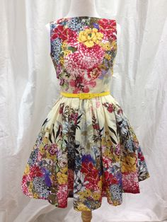 bright floral dress made by Rose Joyce