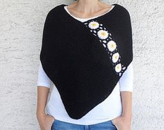Light Gray Poncho with Afghan Motifs, Women Capelet Shawl This hand knit light gray afghan poncho will keeps you warm in spring, fall and winter season. I embellished it with crochet afgan motifs. There are lots of ways to wear this super stylish Poncho! It will be indispensible accessory for you at spring/fall/winter days. (My own original design ) Material: High quality soft acrylic yarn Size: US 6 - 10 or UK 8 – 12, European 36 -40 For larger sizes please convo me. **This item is made to…