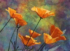 Yellow Poppies Art Quilt Pattern by Lenore Crawford available on her Etsy page https://www.etsy.com/shop/LenoreCrawford?ref=hdr_shop_menu&section_id=7845175