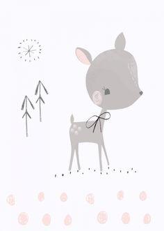 Vicky Riley 'Kaart Hertje met Strik' Nursery Prints, Nursery Wall Art, Wall Prints, Cute Animal Illustration, Illustration Art, Cute Drawings, Baby Posters, Baby Room Decor, Zentangle
