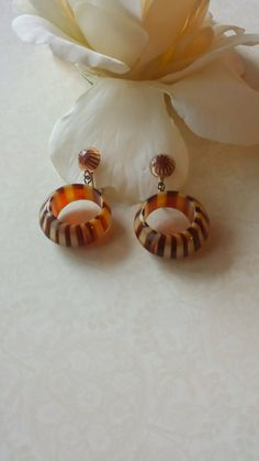 Vintage Celluloid Earrings Retro Tortoise by TheWildVintageRose