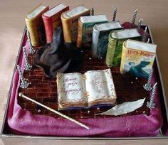 Beautiful Harry Potter book cake