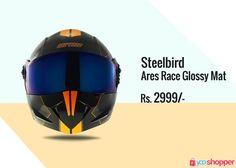 #Helmet Steelbird Ares Race Glossy Mat Black #helmetsafety ,order now from www.yooshopper.com