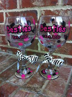 Best Friends Besties Wine Glasses by lovepolkadotpretties on Etsy