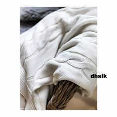 IKEA+URSULA+Afghan+Throw+BLANKET+Bleached+Natural+Cable+Knit+Cotton+Off-White