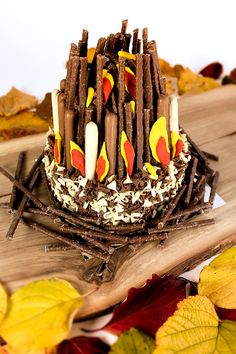 Find out how to make a chocolate bonfire cake for Guy Fawkes' Night. Perfect for anyone throwing a bonfire night party for family and friends!