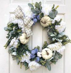 Autumn Wreaths, Holiday Wreaths, Farmhouse Fall Wreath, Lambs Ear, Pumpkin Wreath, White Pumpkins, Wreaths For Front Door, Grapevine Wreath, Fall Decor