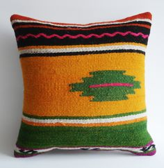 Sukan / Handwoven Wool Vintage Tribal Turkish Kilim Pillow Cover