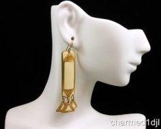 Art Deco Style Geometric Cream Enamel Gold Plated Dangle Earrings Signed Berébi $27.00 SOLD