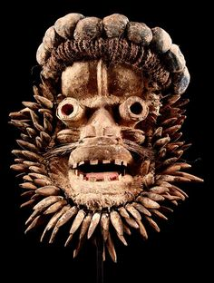 Africa | We (Ngere) mask from West Africa | Wood, textiles, natural fiber and pigment