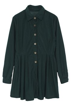 Pleated Hem Shirt Green Dress ROMWE /// US$16.00