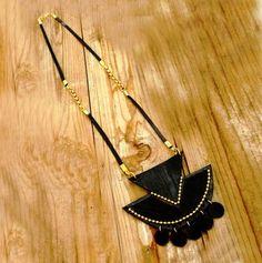 Black and gold statement necklace, geometric trian – a unique product by keren-mekler via en.DaWanda.com #boho #ethnic