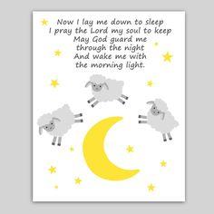 Printable Lamb Decor, Lamb Nursery Art, Now I Lay Me Down To Sleep, Sheep Print Nursery Wall Quotes, Nursery Wall Decor, Nursery Art, Girl Nursery, Nursery Ideas, Bedroom Ideas, Sheep Nursery, Lamb Nursery, Star Nursery