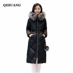 f493cf0885ac QIHUANG Hooded Fur Collar Women s Winter Down Jackets Fashion Thicking Warm  Long Duck Down Female Coat