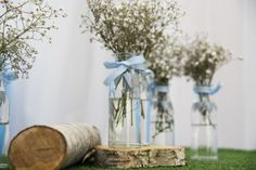Easy flowers (Click link to see flowers in cans w/ burlap wrap too)