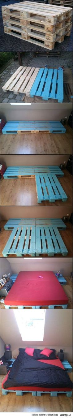 Cheap DIY Bed Frame made from pallets. Great idea for students or temporary house guests