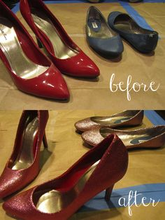 Transform an old pair of shoes into glitter shoes - DIY brilliance!