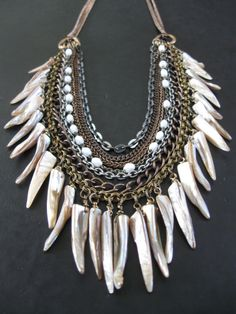 Man Eater  Mixed Metal Chain and Shell Tooth by savagesalvage, 124$