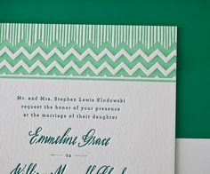 Letterpress Wedding Invitations | Classic Chevron Design | Bella Figura Letterpress