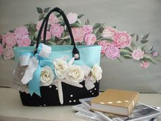 turquoise and black, cream roses and ruffles with real sea  star tote bag
