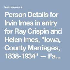 "Person Details for Irvin Imes in entry for Ray Crispin and Helen Imes, ""Iowa"