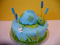 Turtle Baby Boy cake from CakeCreations. Baby Boy Cakes, Cakes For Boys, Baby Shower Cakes, Baby Boy Shower, Fondant Cakes, Cupcake Cakes, Cupcakes, Birthday Themes For Boys, Boy Birthday