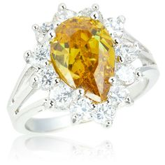 1 Carat Created Citrine Pear Shaped Fashion Ring